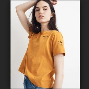Madewell Butterfly Embroidered Eyelet Boxy Tee S